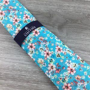 Stafford Accessories - Stafford Blue Floral Pattern Tie